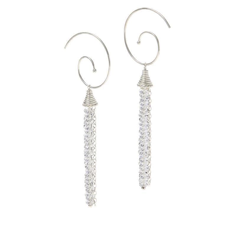 "Herkimer Mines ""Diamond"" Quartz Movable Swirl Drop Earrings"