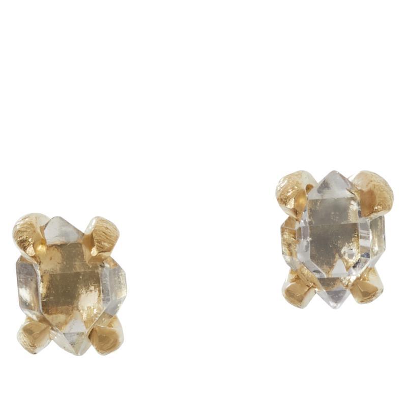 "Herkimer Mines Gold-Tone Herkimer ""Diamond"" Quartz Stud Earrings"
