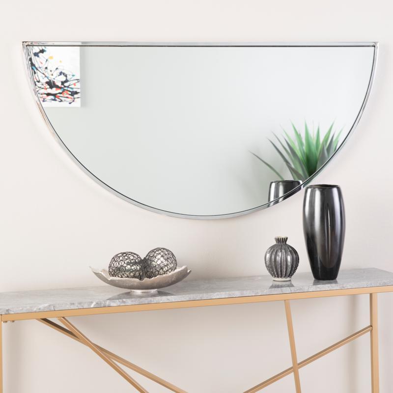 "Holly & Martin Decorative 48"" Demilune Mirror - Chrome"