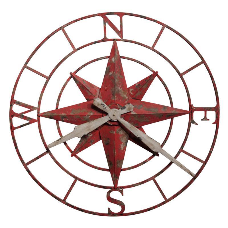 "Howard Miller ""Compass Rose"" Aged Metal Wall Clock"