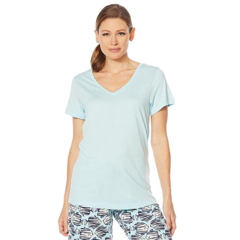 HUE Womens Short Sleeve V-Neck Sleep Tee
