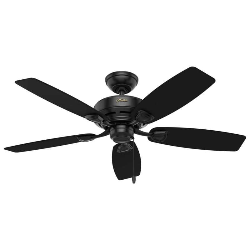 "Hunter 48"" Sea Wind Matte Black Damp Rated Pull Chain Ceiling Fan"