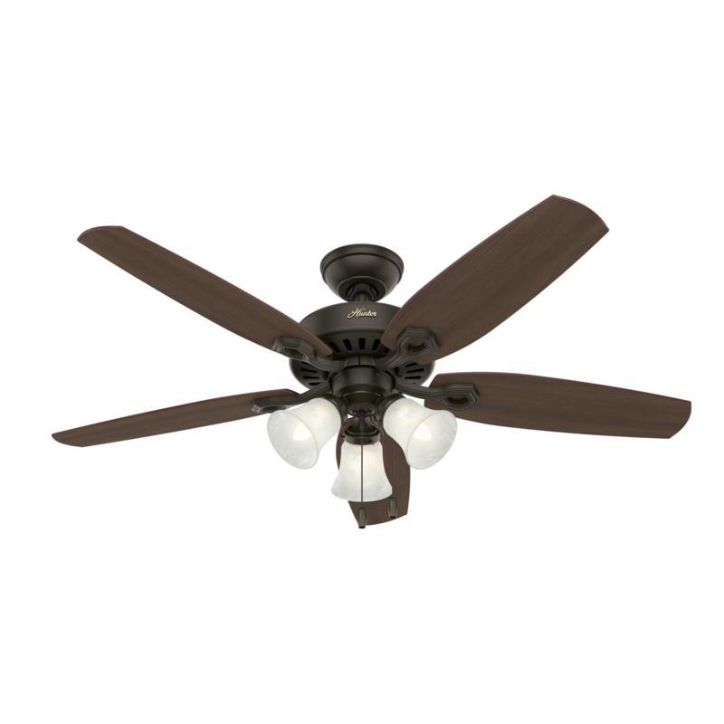 """Hunter 52"""" Builder Plus Bronze Ceiling Fan w LED Light Kit & PullChain"""