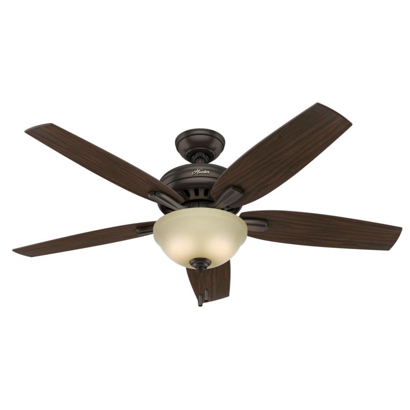 "Hunter 52"" Newsome Bronze Ceiling Fan w LED Light Kit and Pull Chain"