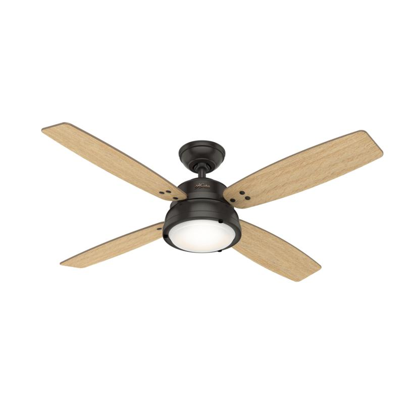 "Hunter 52"" Wingate Bronze Ceiling Fan w LED Light Kit & HandheldRemote"