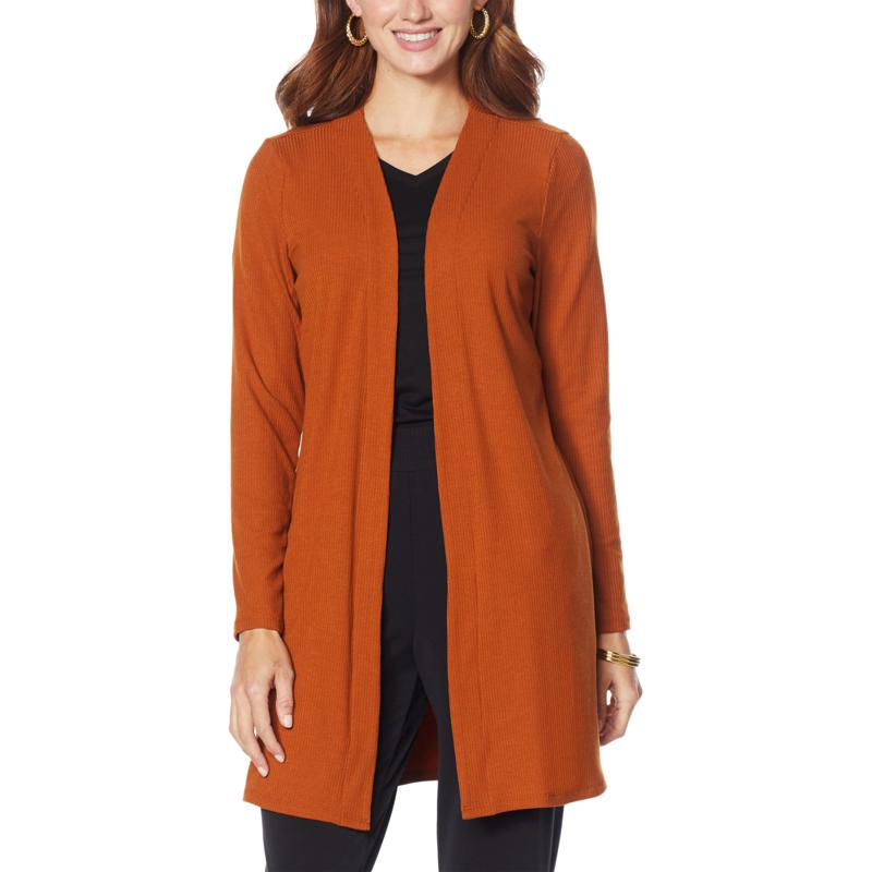 IMAN Comfy Chic Ribbed Hacci Knit Duster Cardigan