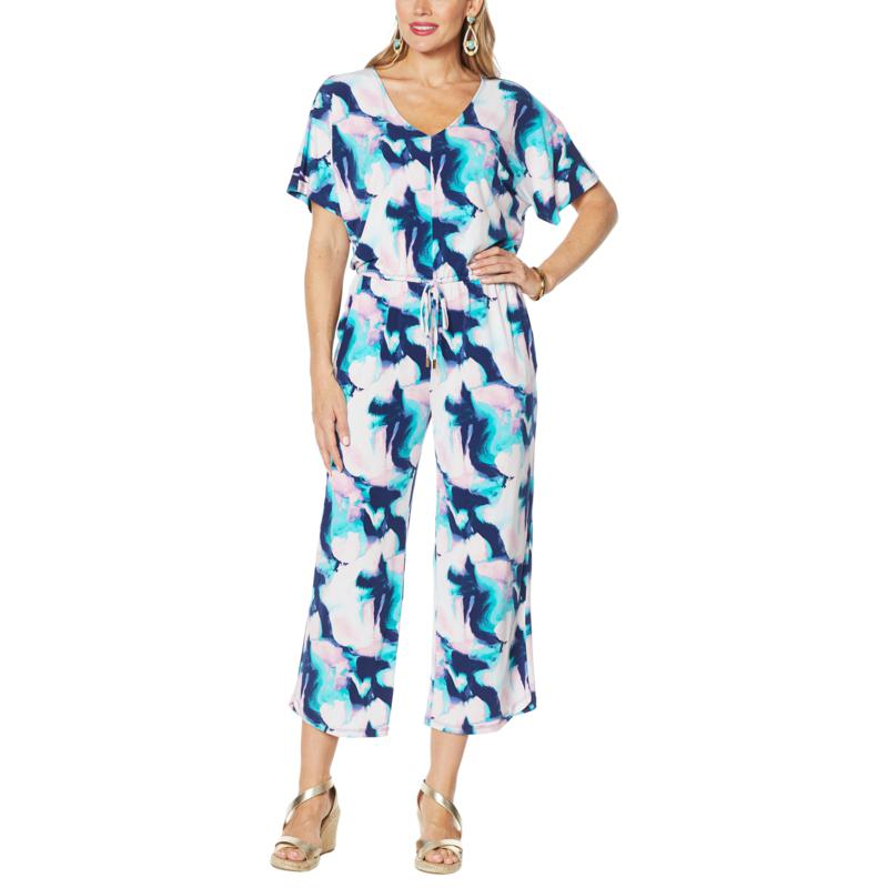 IMAN Global Chic Dolman-Sleeve Cropped Jumpsuit