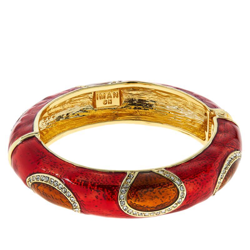 IMAN Global Chic Goldtone Oval Station Enamel Bangle Bracelet