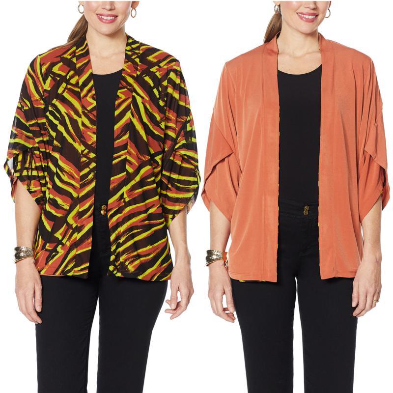 IMAN Global Chic Reversible Tulip-Sleeve Kimono Topper