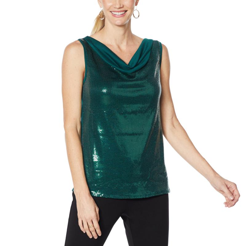IMAN Global Chic Sequin Sweater Tank with Solid Back