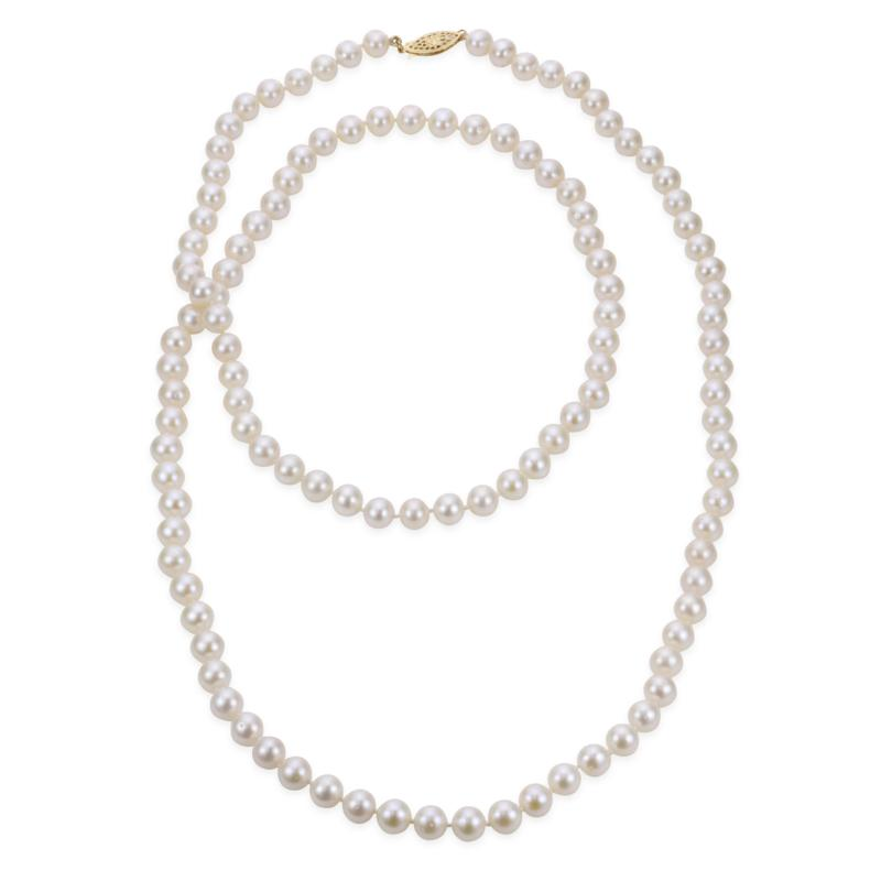 """Imperial Pearls 36"""" 14K 7-7.5mm Cultured Freshwater Pearl Necklace"""