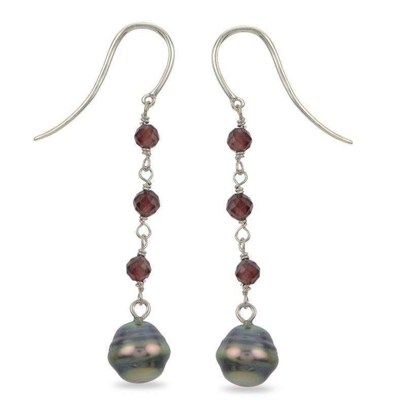Imperial Pearls Baroque Cultured Tahitian Pearl and Garnet Earrings