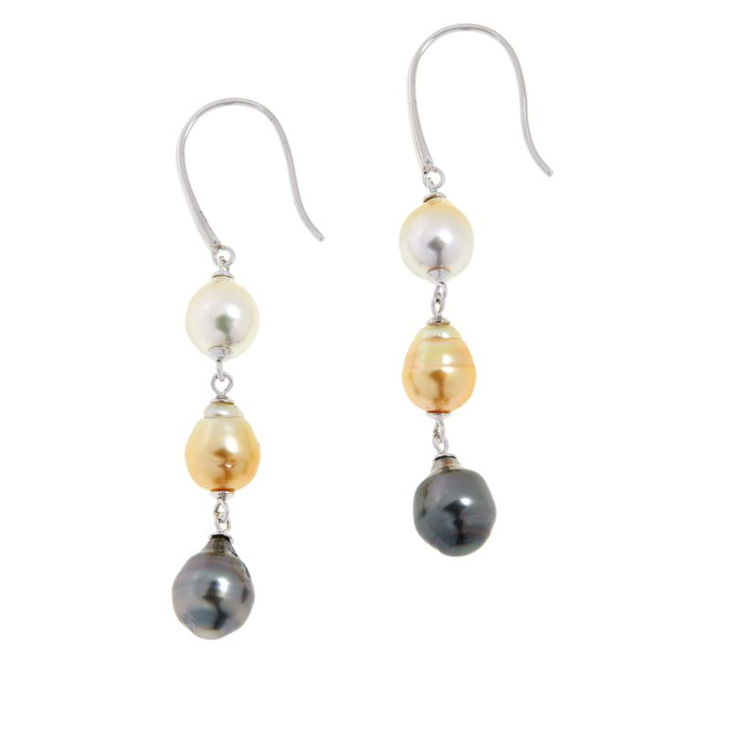 Imperial Pearls Tri-Color Cultured Pearl Dangle Earrings