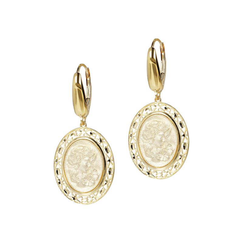 Italian Gold 14K Yellow Gold Oval Cameo Dangle Earrings