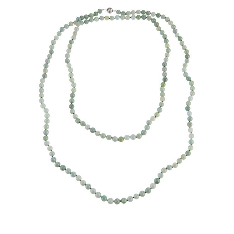 "Jade of Yesteryear 60"" Green Jade Beaded Necklace"