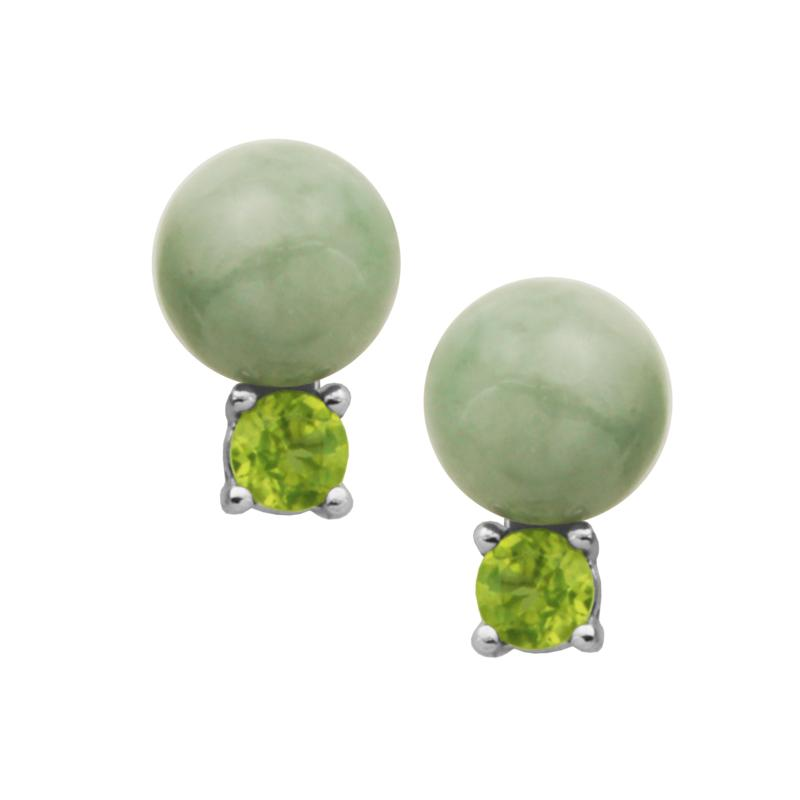 Jade of Yesteryear Green Jade and Peridot Stud Earrings