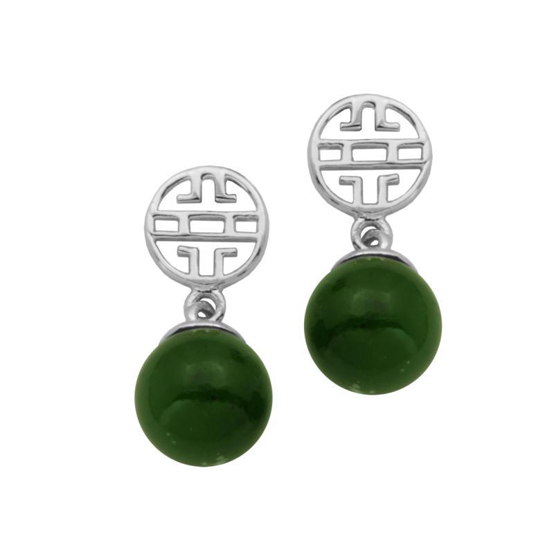Jade of Yesteryear Nephrite Jade Longevity Design Drop Earrings