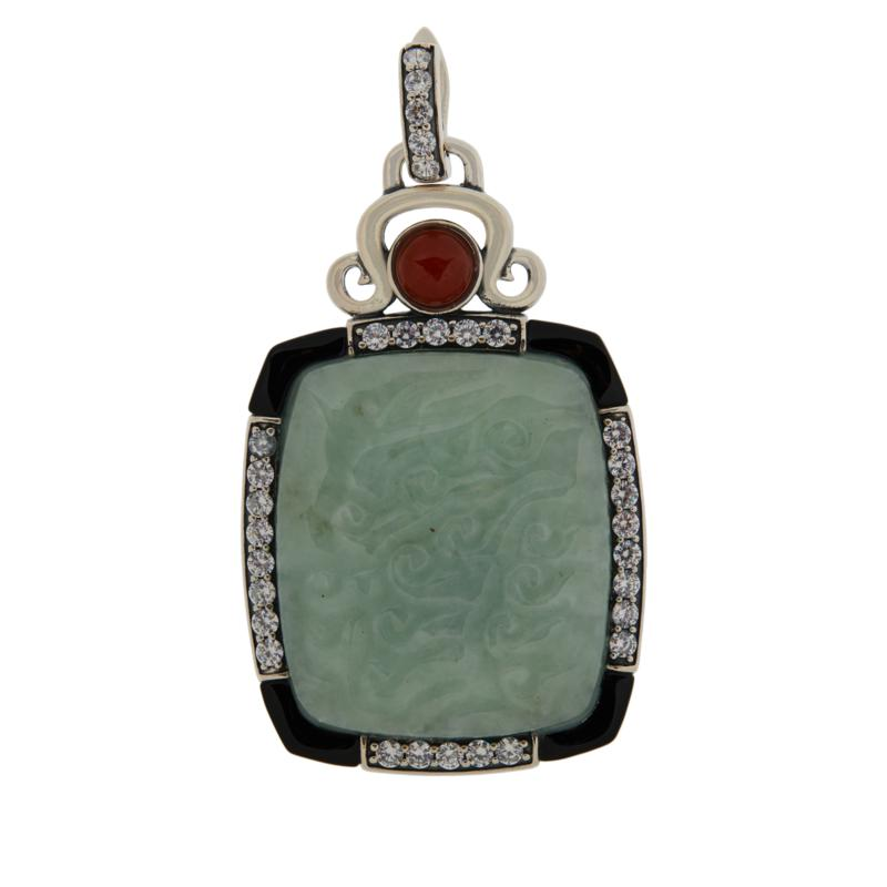 Jade of Yesteryear Sterling Silver Carved Jade and Gemstone Pendant