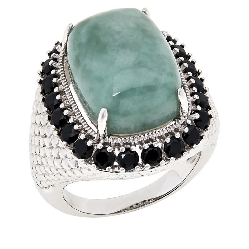 Jade of Yesteryear Sterling Silver Cushion-Cut Jade and Gemstone Ring