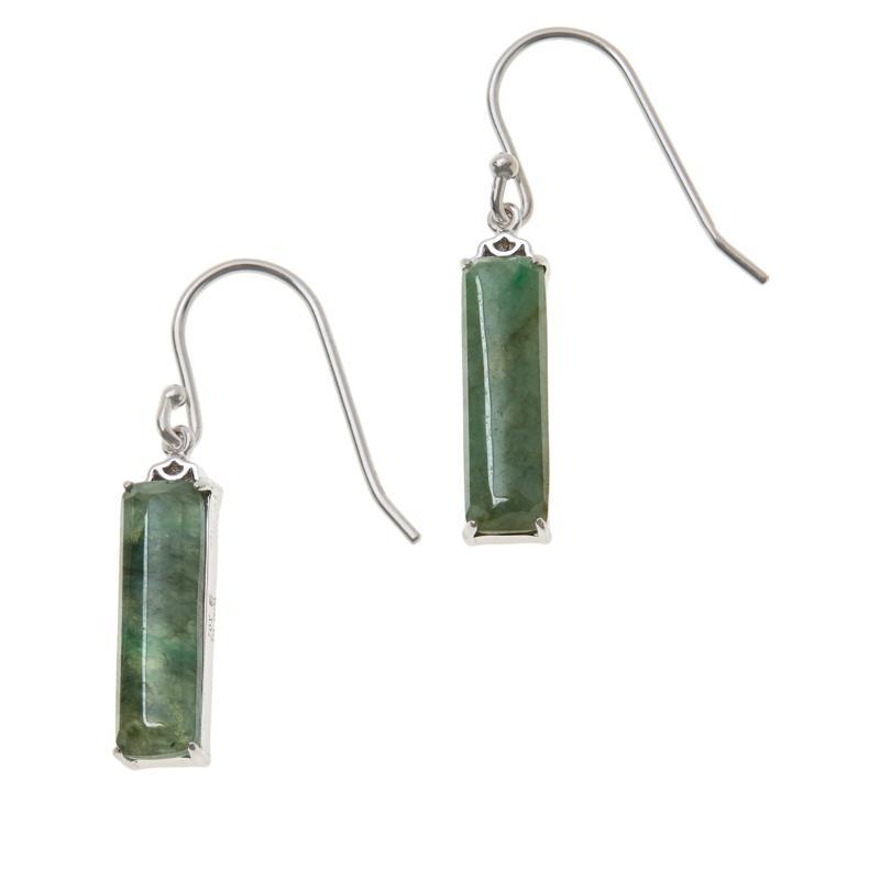 Jade of Yesteryear Sterling Silver Cushion-Cut Jade Drop Earrings