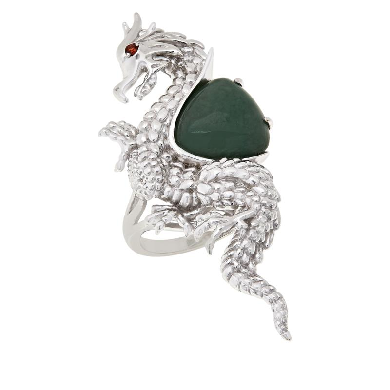 Jade of Yesteryear Sterling Silver Dragon Jade and Garnet Ring