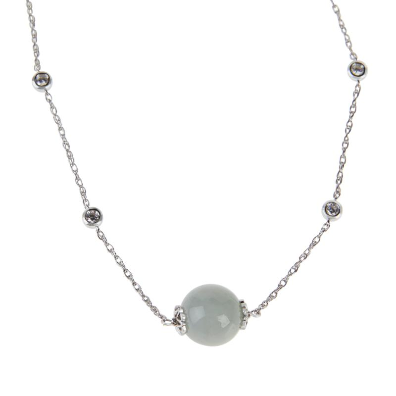 Jade of Yesteryear Sterling Silver Jade Bead & Cubic Zirconia Necklace