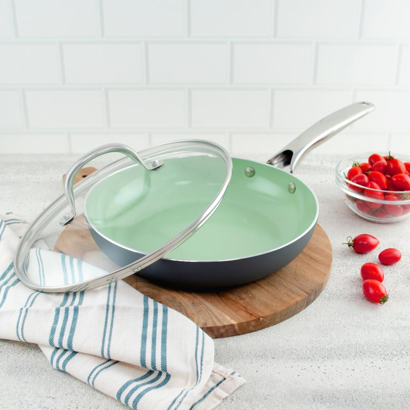 """Jade Stone 9.5"""" Ceramic Nonstick Frypan with Lid"""