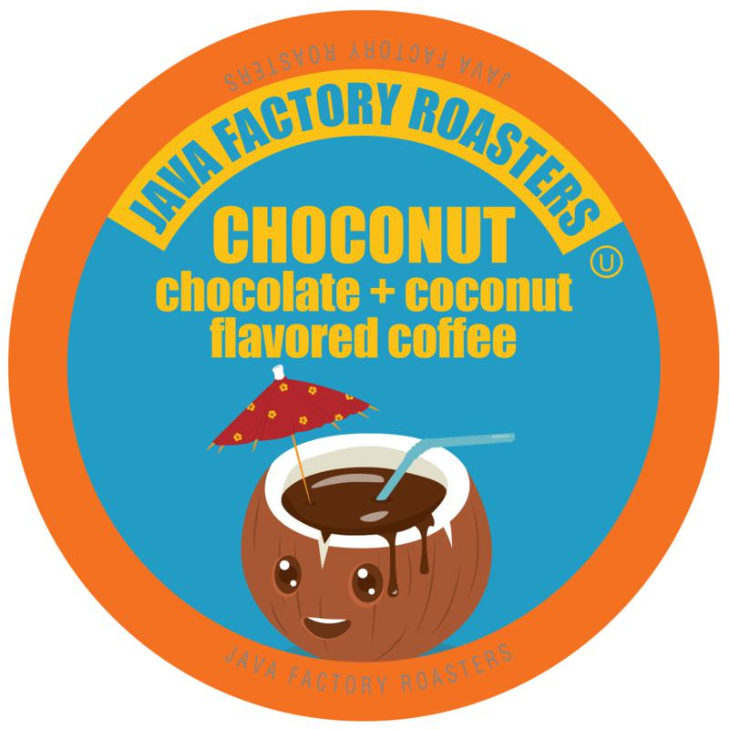 Java Factory Coffee Pods for Keurig Chocolate and Coconut Flavor
