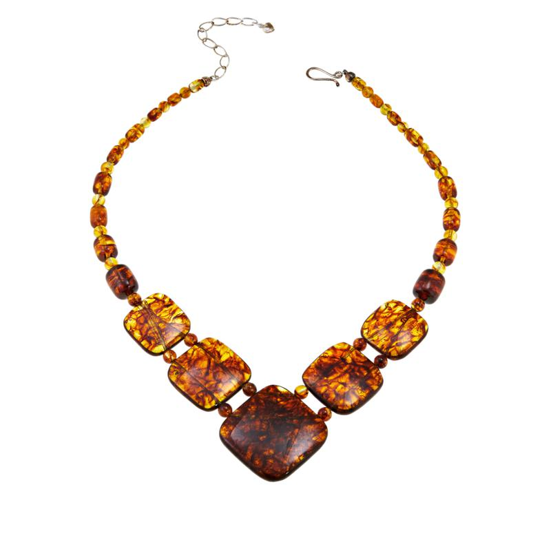 """Jay King 17"""" Sterling Silver Cushion-Cut Amber Necklace"""
