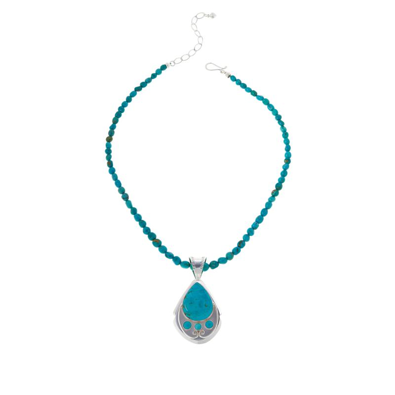 """Jay King 18"""" Chilean Turquoise Pendant with Beaded Necklace"""