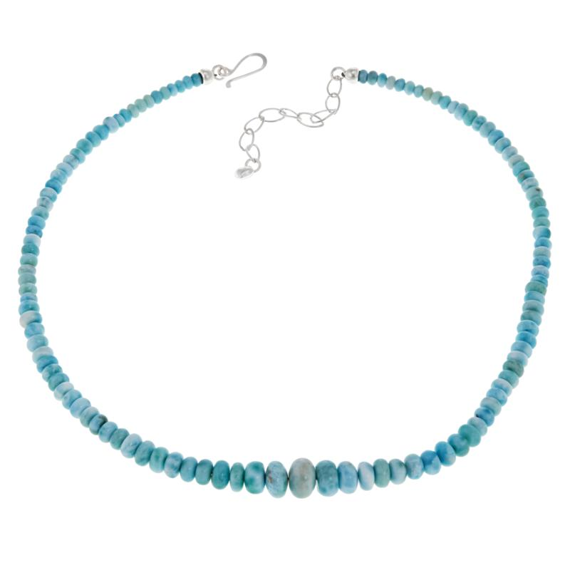 """Jay King 18"""" Sterling Silver Larimar Beaded Necklace"""