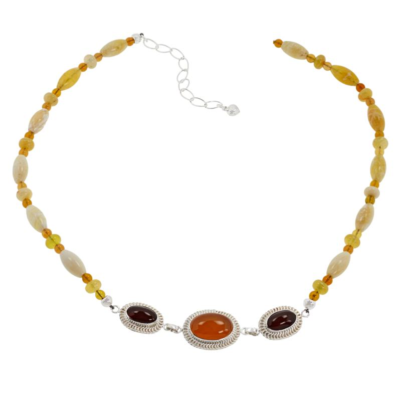 """Jay King 18"""" Sterling Silver Yellow and Mexican Opal Station Necklace"""