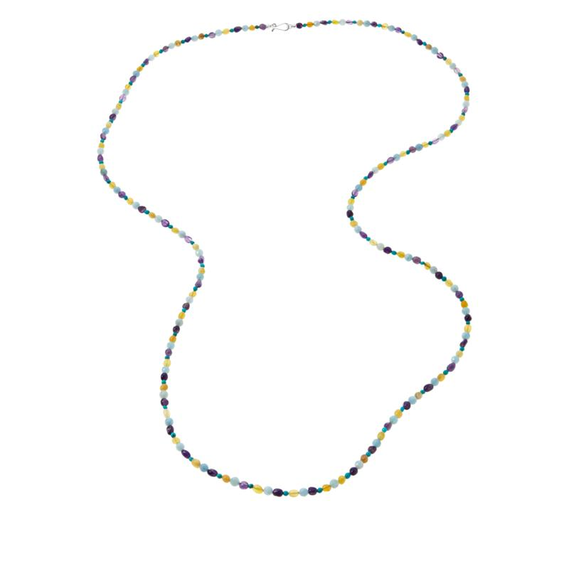 """Jay King 60"""" Sterling Silver Multi-Color Multi-Gemstone Bead Necklace"""