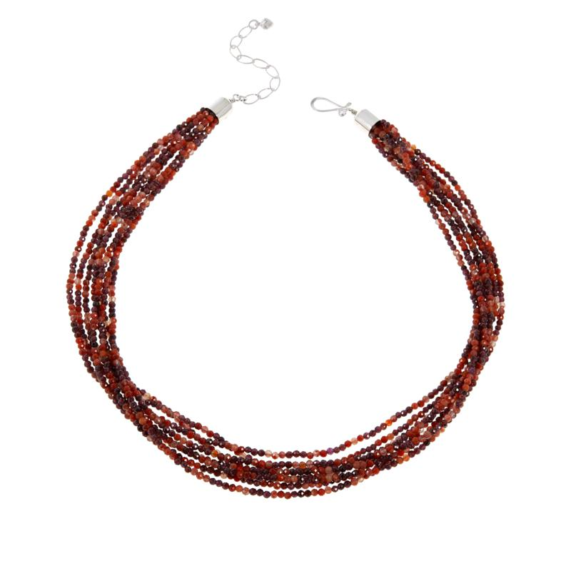 Jay King 8-Strand Picante Agate and Garnet Bead Necklace