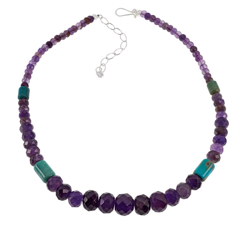 Jay King Amethyst and New Red Skin Turquoise Bead Necklace