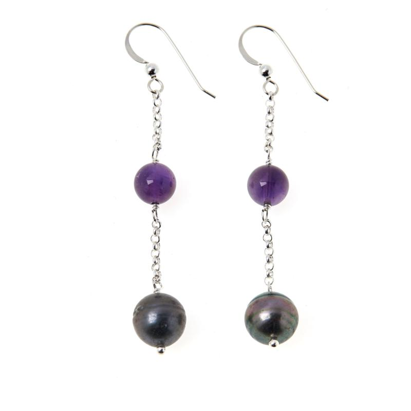 Jay King Amethyst and South Sea Pearl Earrings