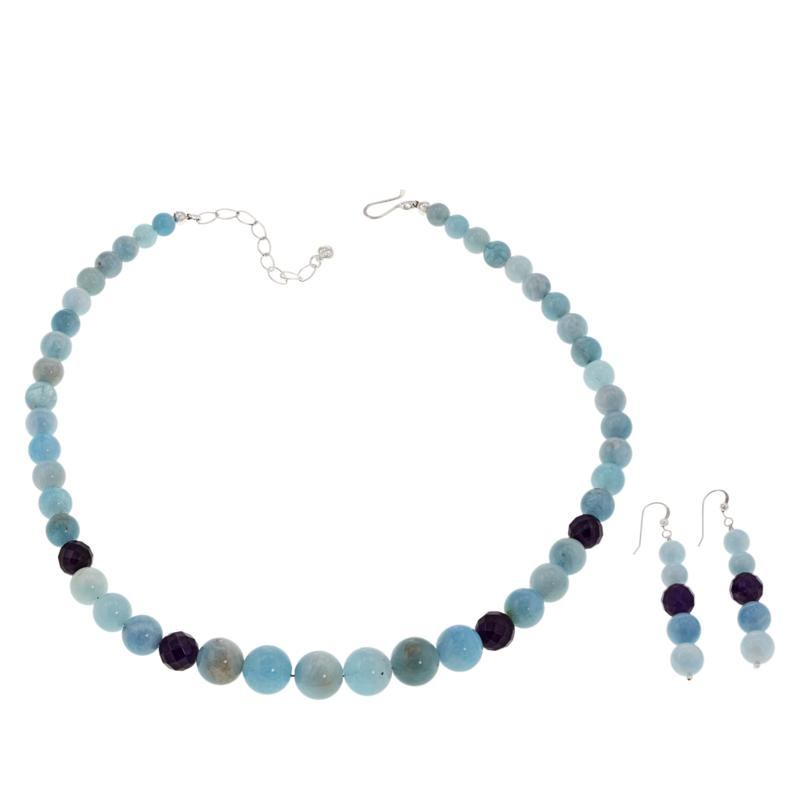 Jay King Aquamarine and Amethyst Bead Necklace and Earring Set