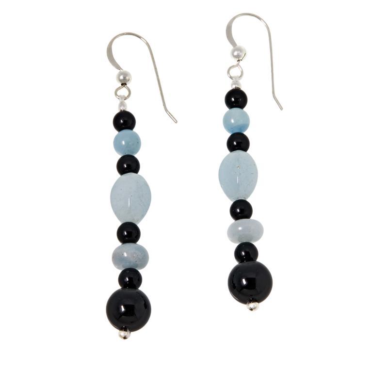 Jay King Aquamarine and Black Chalcedony Bead Drop Earrings