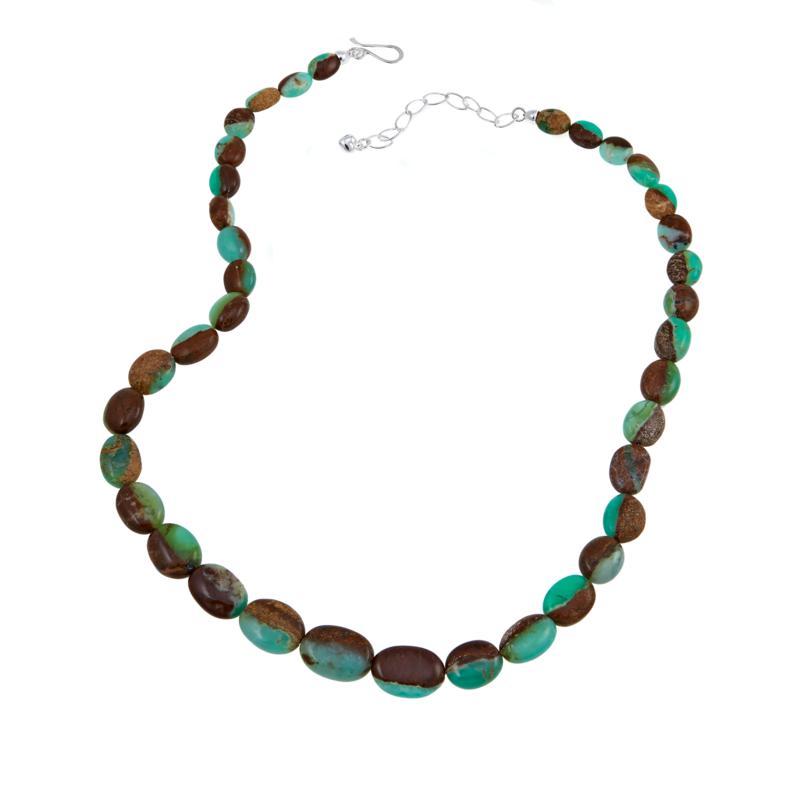 """Jay King Australian Green Opal Bead 21-3/4"""" Sterling Silver Necklace"""