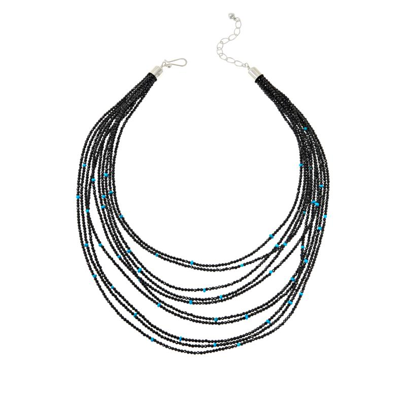 Jay King Black Spinel and Turquoise Bead Layered Necklace