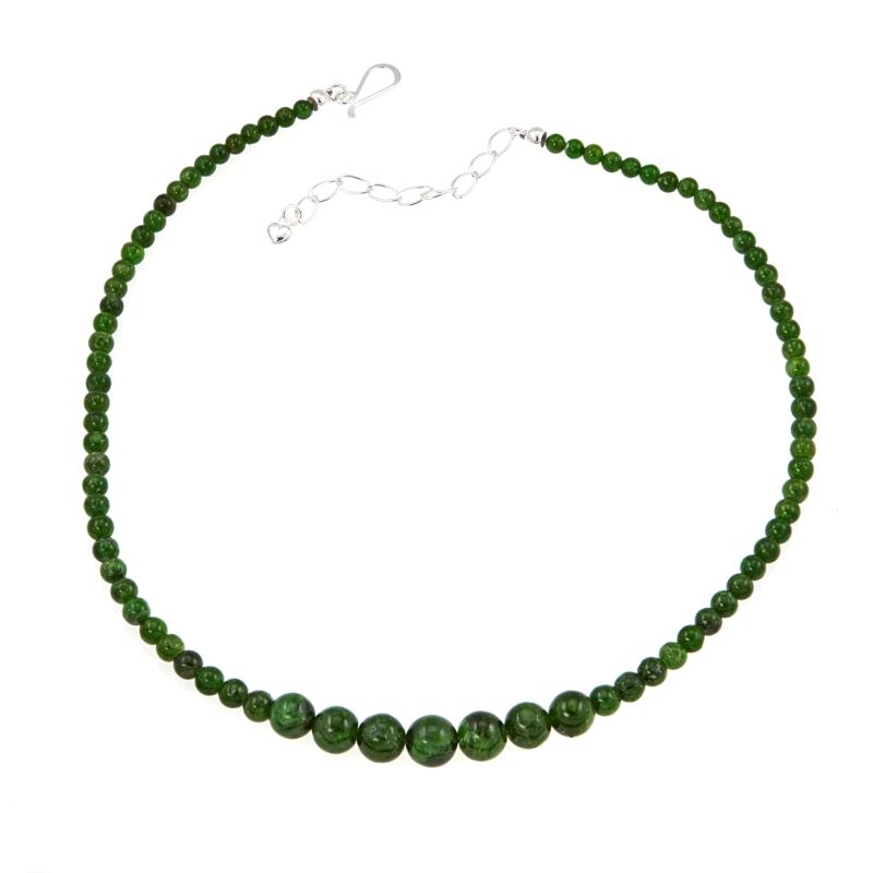 """Jay King Green Chrome Diopside Bead 18"""" Sterling Silver Necklace"""