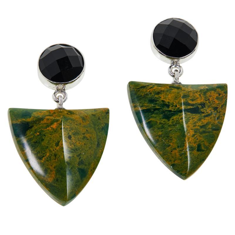 Jay King Green Verdite and Black Tourmaline Drop Earrings