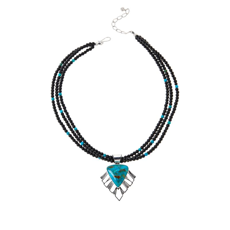 Jay King Kingman Turquoise and Midnight Chalcedony Pendant Necklace