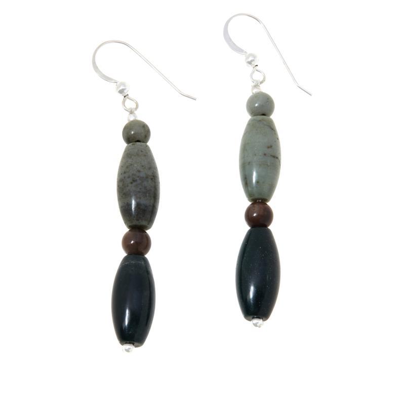 Jay King Multi-Color Petrified Wood Bead Drop Earrings