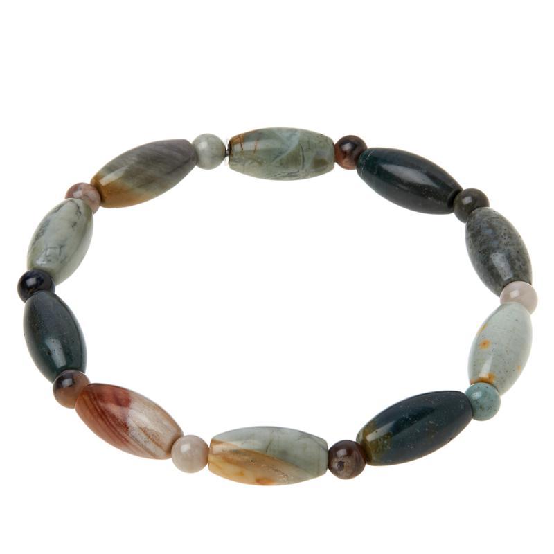 Jay King Multi-Color Petrified Wood Bead Stretch Bracelet