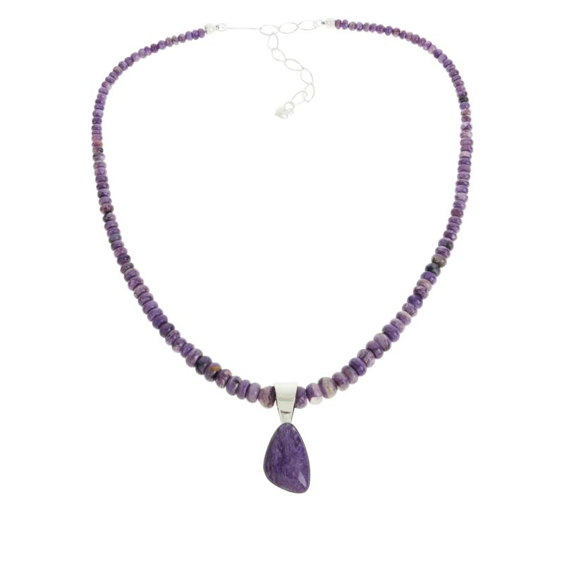 Charoite Necklace  Charoite Beaded necklace  stone jewelry  purple necklace  purple bead necklace