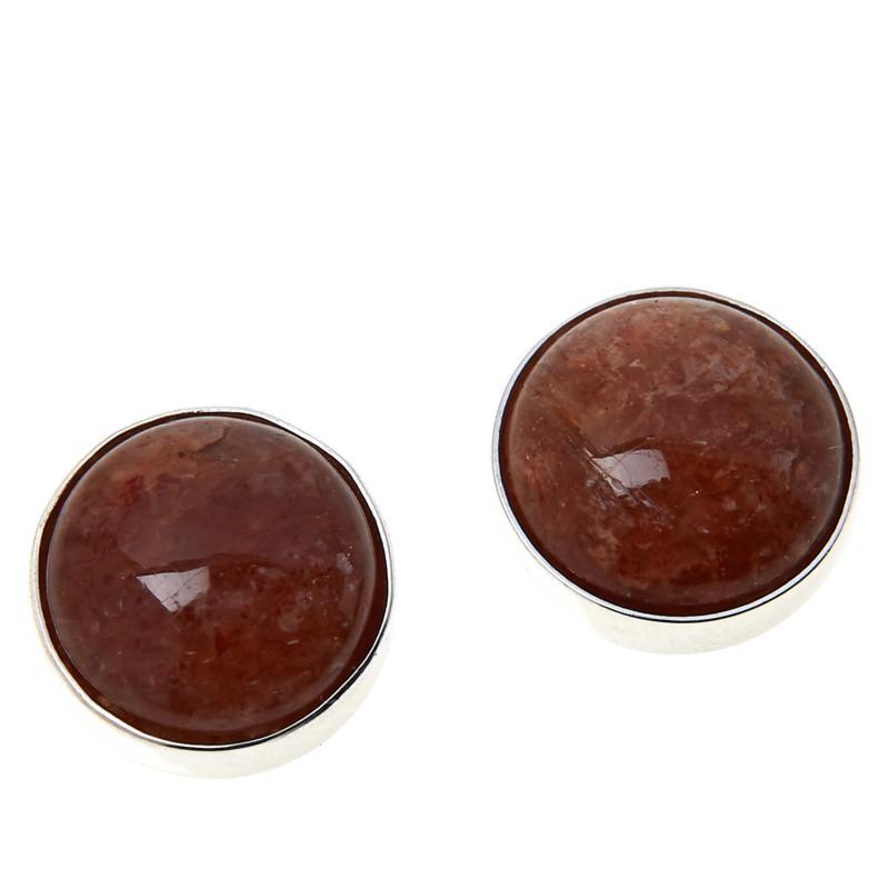 Jay King Raspberry Sunstone Stud Earrings