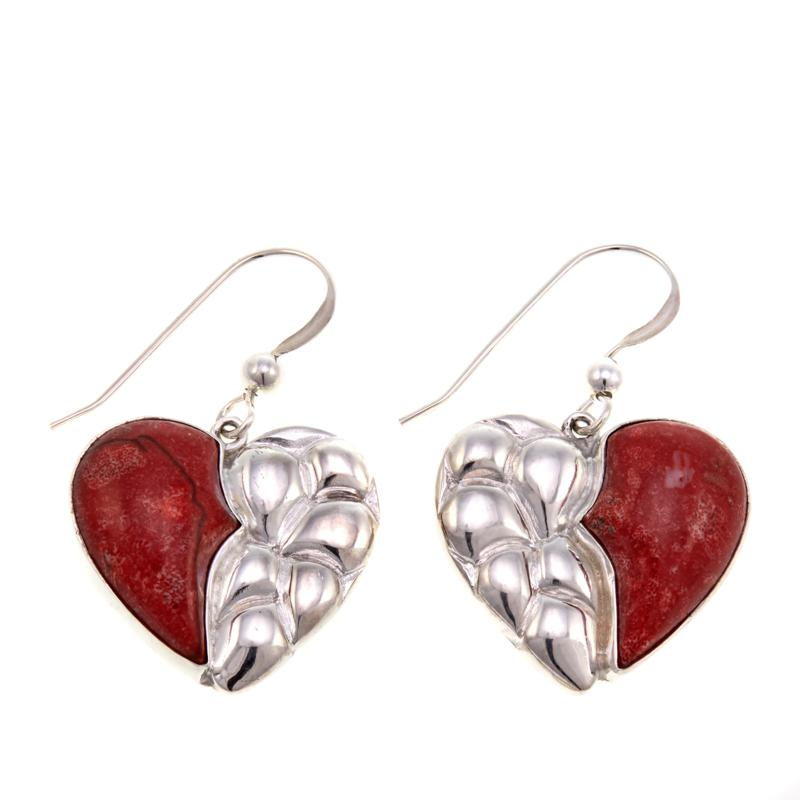 Jay King Red Coral Sterling Silver Textured Heart Dangle Earrings