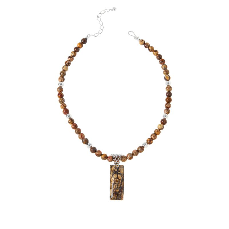 Jay King Shitake Stone Rectangular Pendant with Necklace