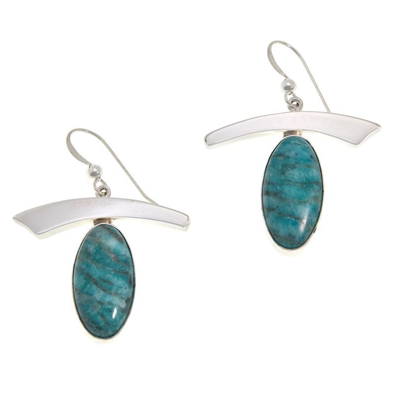 Jay King Smoky Graphical Amazonite Earrings